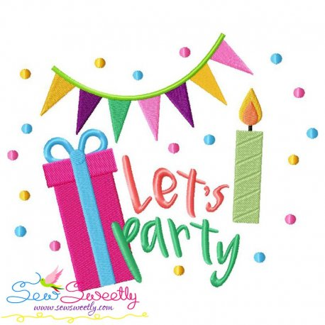 Let's Party Embroidery Design