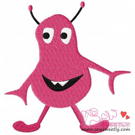 Pink Alien Embroidery Design