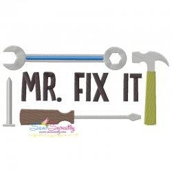 Mr. Fix It Lettering Embroidery Design