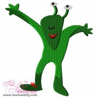 Green Alien Embroidery Design