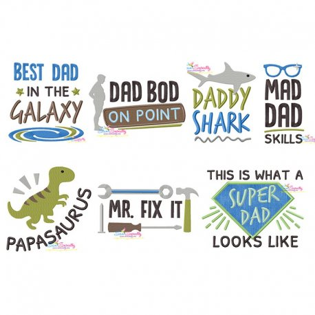 Awesome Dad Quotes Lettering Embroidery Design Bundle Pattern- Category- Embroidery Design Bundles- 1
