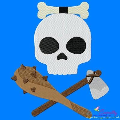 Caveman Character Skull Embroidery Design