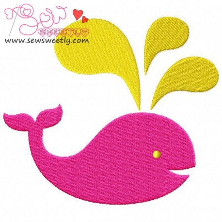 Pink Whale Embroidery Design For Kids