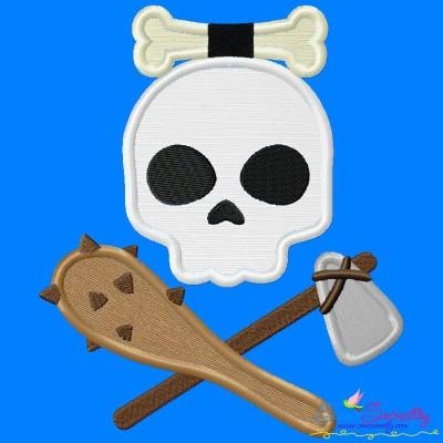 Caveman Character Skull Applique Design