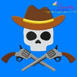 Cowboy Character Skull Embroidery Design