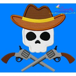 Cowboy Character Skull Applique Design Pattern- Category- Caps And Jacket Back Designs- 1