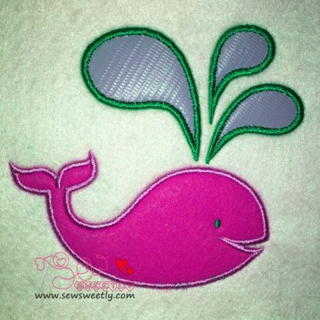 Pink Whale Applique Design For Kids