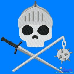 Knight Character Skull Embroidery Design Pattern- Category- Caps And Jacket Back Designs- 1
