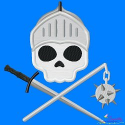 Knight Character Skull Applique Design Pattern- Category- Caps And Jacket Back Designs- 1