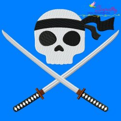 Ninja Character Skull Embroidery Design Pattern- Category- Caps And Jacket Back Designs- 1