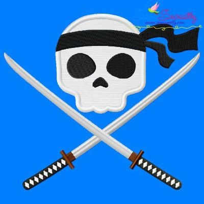 Ninja Character Skull Applique Design Pattern- Category- Caps And Jacket Back Designs- 1