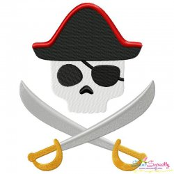 Pirate Character Skull Embroidery Design Pattern- Category- Caps And Jacket Back Designs- 1