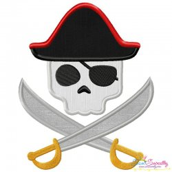 Pirate Character Skull Applique Design Pattern- Category- Caps And Jacket Back Designs- 1
