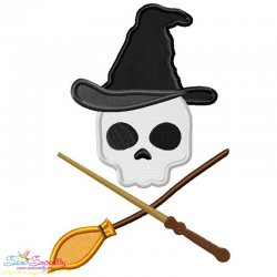 Wizard Character Skull Applique Design