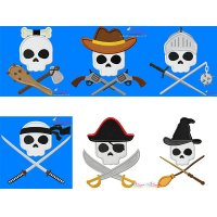 Skulls in Charge Characters Embroidery/Applique Design Bundle