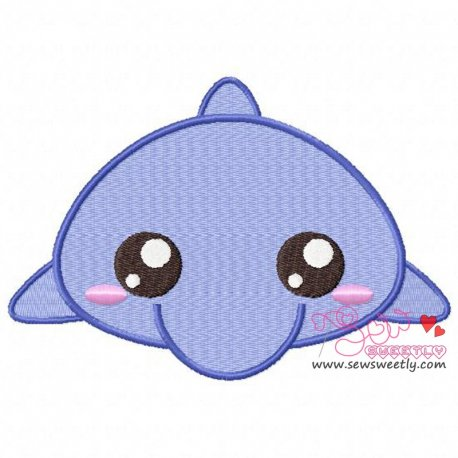 Cute Dolphin Embroidery Design For Kids