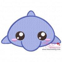 Cute Dolphin Embroidery Design