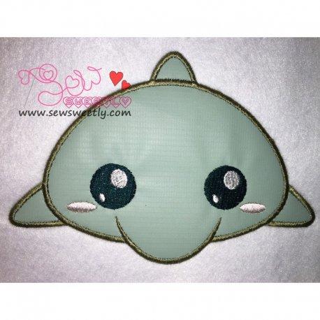 Cute Dolphin Applique Design