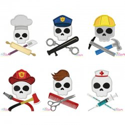 Skulls In Charge Profession Embroidery/Applique Design Bundle