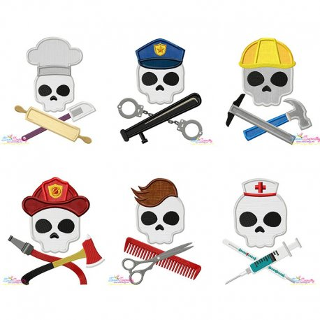 Skulls In Charge Profession Embroidery/Applique Design Bundle Pattern- Category- Embroidery Design Bundles- 1