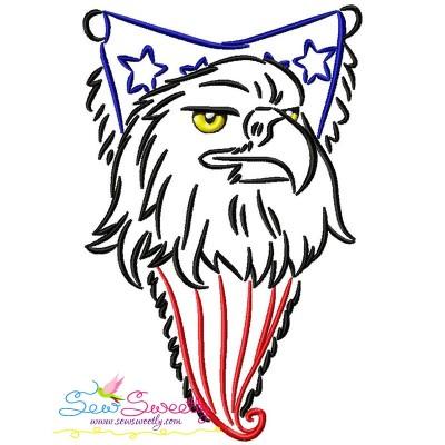 Patriotic Bald Eagle-10 Embroidery Design