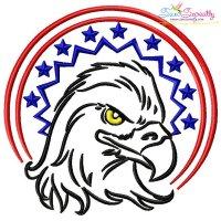 Patriotic Bald Eagle-9 Embroidery Design
