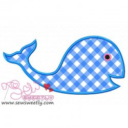 Blue Whale Applique Design