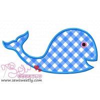 Blue Whale Applique Design