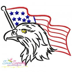 Patriotic Bald Eagle-8 Embroidery Design