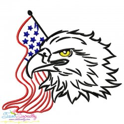 Patriotic Bald Eagle-7 Embroidery Design