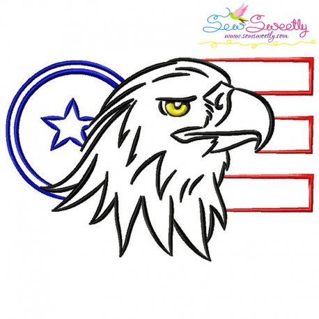 Patriotic Bald Eagle-6 Embroidery Design