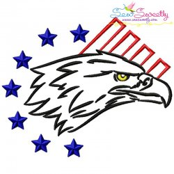 Patriotic Bald Eagle-5 Embroidery Design