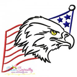 Patriotic Bald Eagle-4 Embroidery Design
