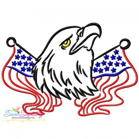 Patriotic Bald Eagle-3 Embroidery Design Pattern- Category- 4th of July Designs- 1