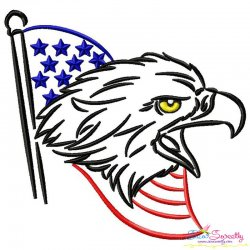 Patriotic Bald Eagle-2 Embroidery Design