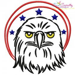 Patriotic Bald Eagle-1 Embroidery Design