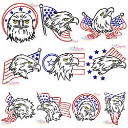 Patriotic Bald Eagles Embroidery Design Bundle