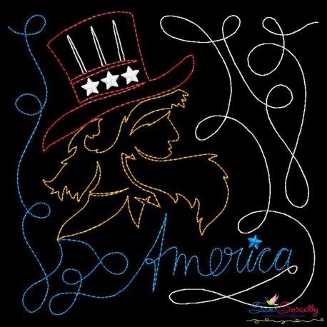 America Patriotic Colorwork Block Embroidery Design