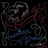 American Proud Patriotic Colorwork Block Embroidery Design