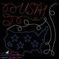 USA Map Patriotic Colorwork Block Embroidery Design