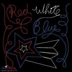 Red White Blue Patriotic Colorwork Block Embroidery Design
