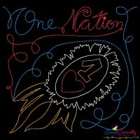 One Nation Patriotic Colorwork Block Embroidery Design