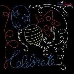 Celebrate Balloons Patriotic Colorwork Block Embroidery Design