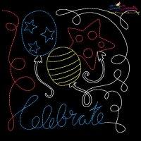 Celebrate Balloons Patriotic Colorwork Block Embroidery Design
