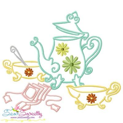 Color Satin Stitches Tea Time-9 Embroidery Design