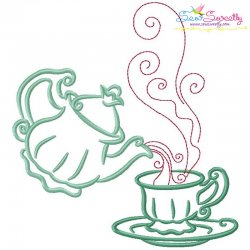 Color Satin Stitches Tea Time-8 Embroidery Design