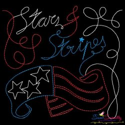 Stars and Stripes Patriotic Colorwork Block Embroidery Design