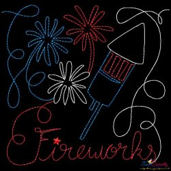 Fireworks Patriotic Colorwork Block Embroidery Design