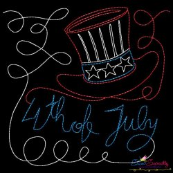 4th of July Patriotic Hat Colorwork Block Embroidery Design