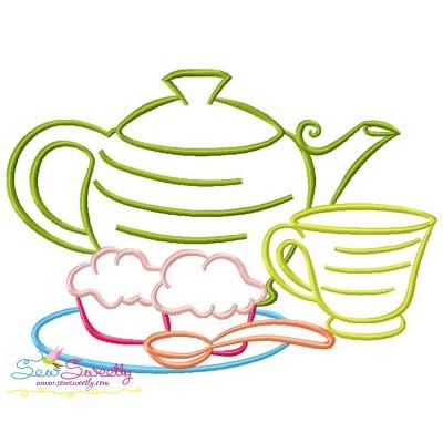 Color Satin Stitches Tea Time-3 Embroidery Design